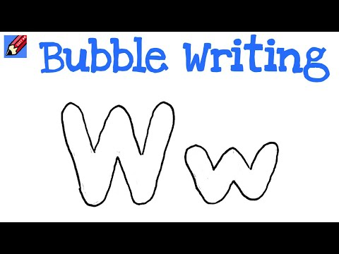 How To Draw Bubble Writing Real Easy Letter W Youtube
