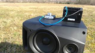 nobsound NS-01G (Outside - open area sound test, Baterry powered 12V) Nice Deep Bass