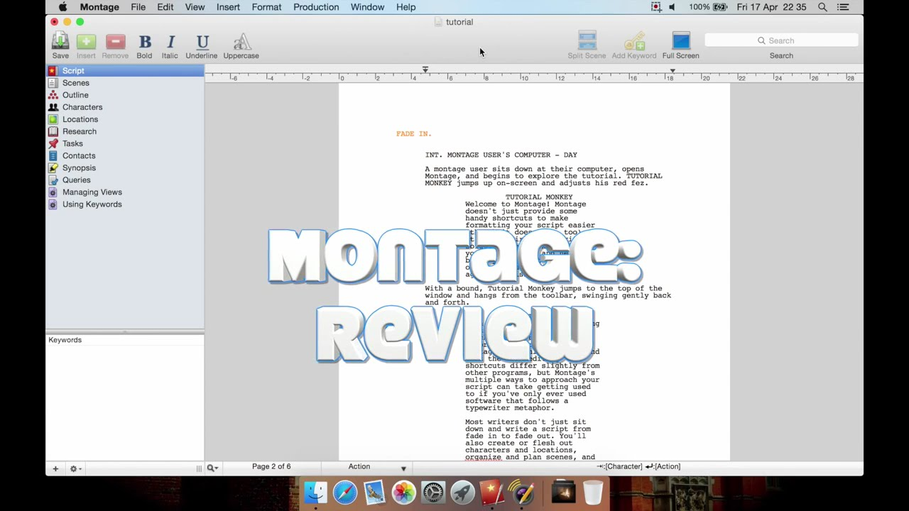 Montage (Professional Screenwriting for Mac): Review