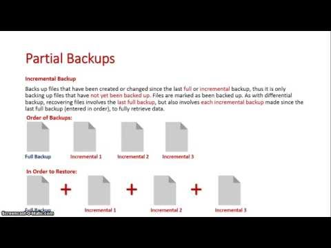 Partial Backups: Differential and Incremental