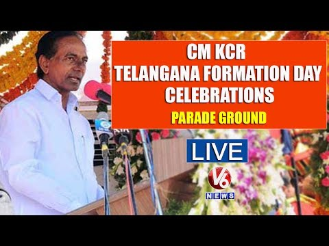 CM KCR At Telangana Formation Day Celebrations | Live From Parade Ground | V6 News