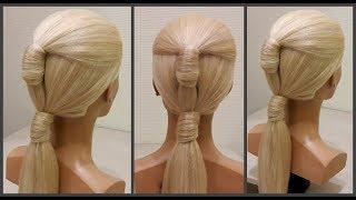 Быстрая красивая прическа на длинные и средние волосы.легко сделать.Fast and beautiful hairstyle.