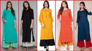 Latest Beautiful Stylish And Trendy Casual Wear Plain Printed Plaazo Kurta Dress Design Idea's 2019
