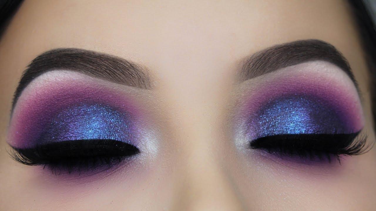 blue purple smokey eye makeup tutorial