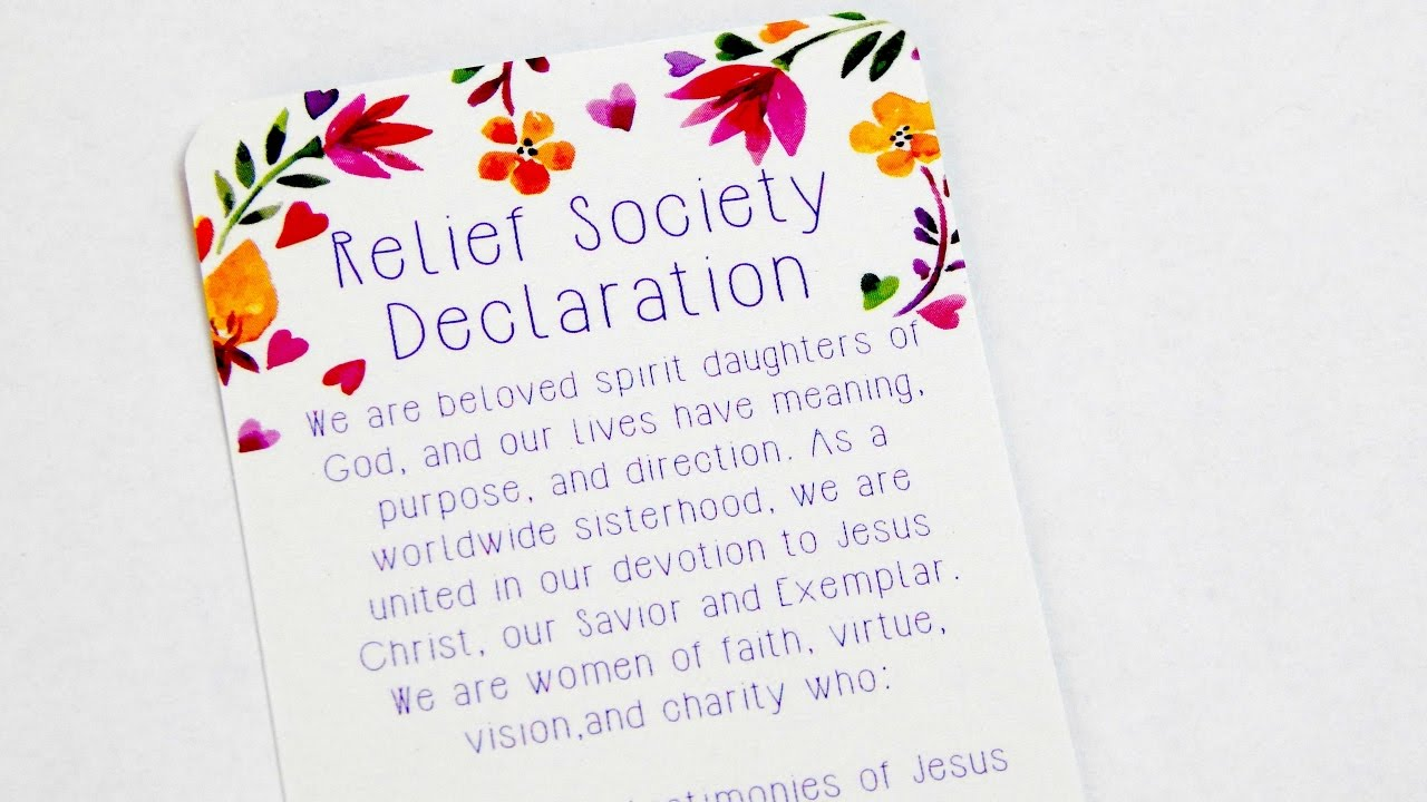 picture about Relief Society Declaration Printable identify Aid Lifestyle Declarations Bookmark
