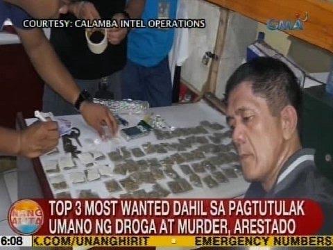 UB: Top 3 most wanted dahil sa pagtutulak umano ng droga at murder, arestado sa Calamba, Laguna