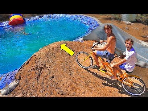 Mega Dirt jump vs TANDEM BIKE / Toy car / Dirtbike into our POND!