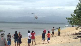 Robinson Helicopter Landing by the Beach Front of Marinduque