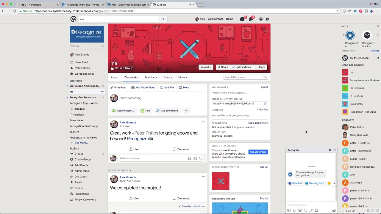 Employee Recognition for Workplace by Facebook | Recognize