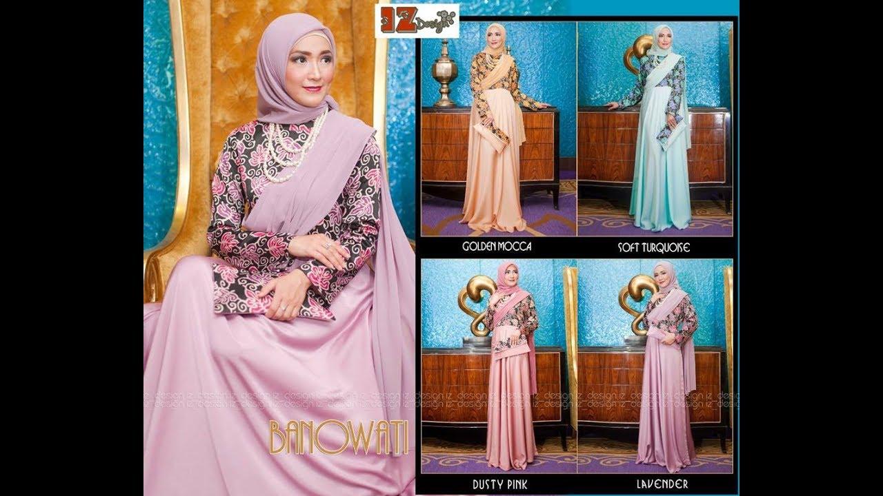 Gamis Batik Kombinasi Terbaru Edisi Banowati Baju Pesta Muslimah