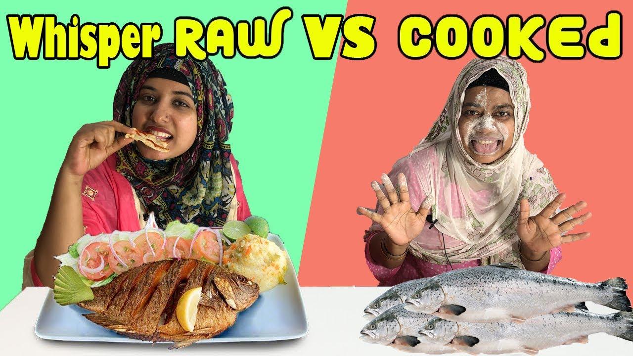 বউ শাশুড়ির ফিসফিস কাচা আর রান্না খাবার খাওয়ার অদ্ভুত প্রতিযোগিতা||Whisper Raw vs Cooked Food||