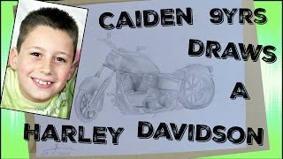 How to draw a Harley Davidson motorbike by Caiden 9 years old