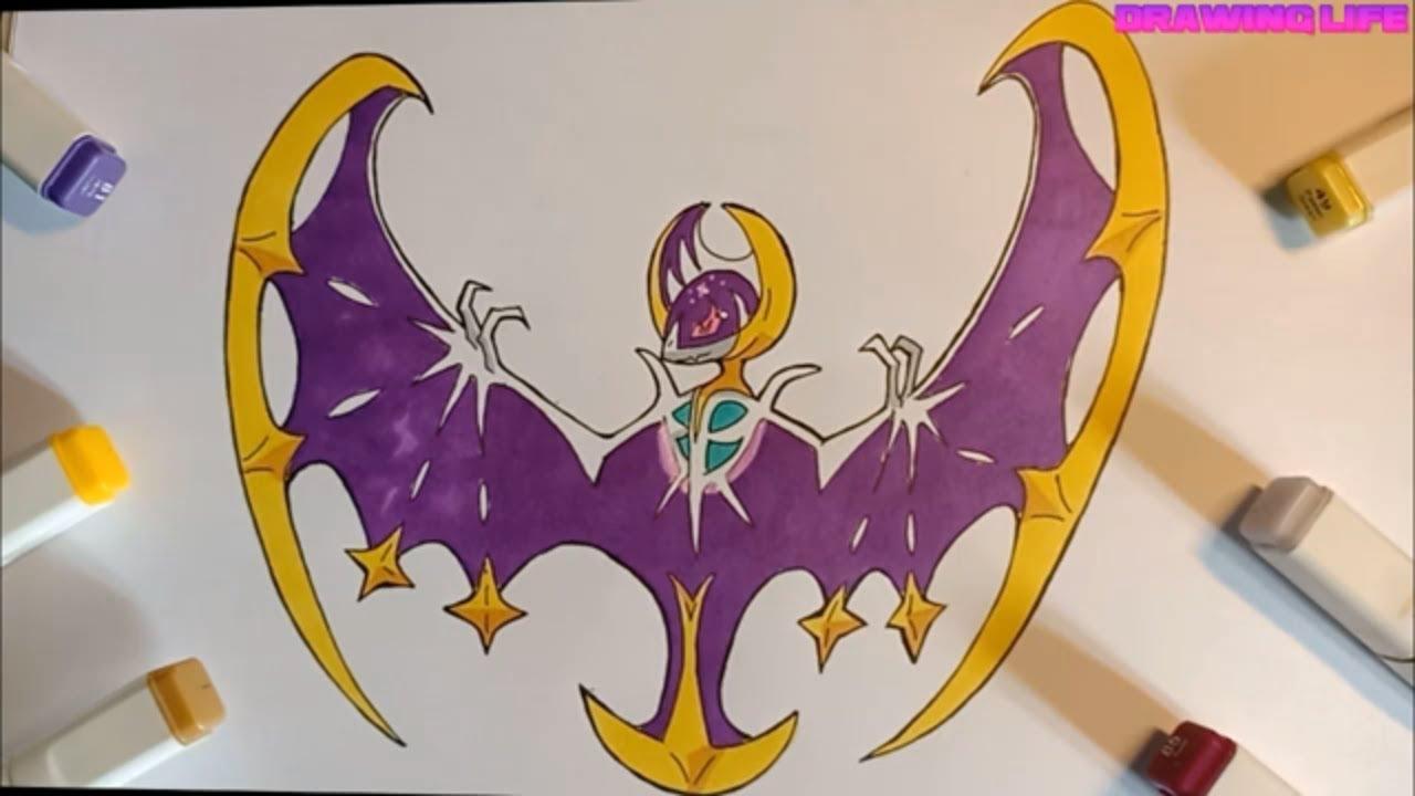 cách vẽ Lunala pokemon huyền thoại thật dễ dàng