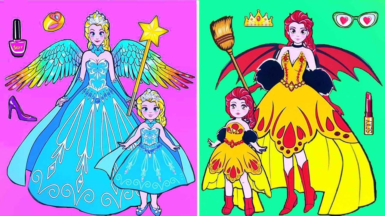 Paper Dolls Dress Up - Costume Fire and Frozen Elsa Princess Dress Handmade - Barbie Story & Crafts