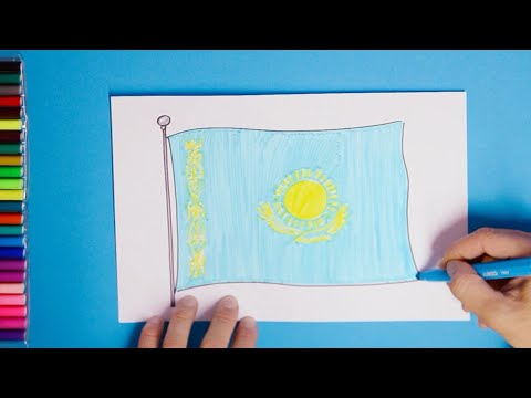How to draw National Flag of Kazakhstan