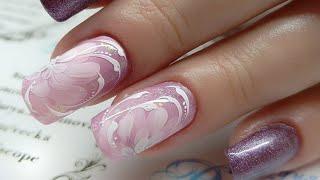 {En, fr,de.es CC]Хризантемы в желе. дизайн для невесты.Простой и быстрый дизайн ногтей.