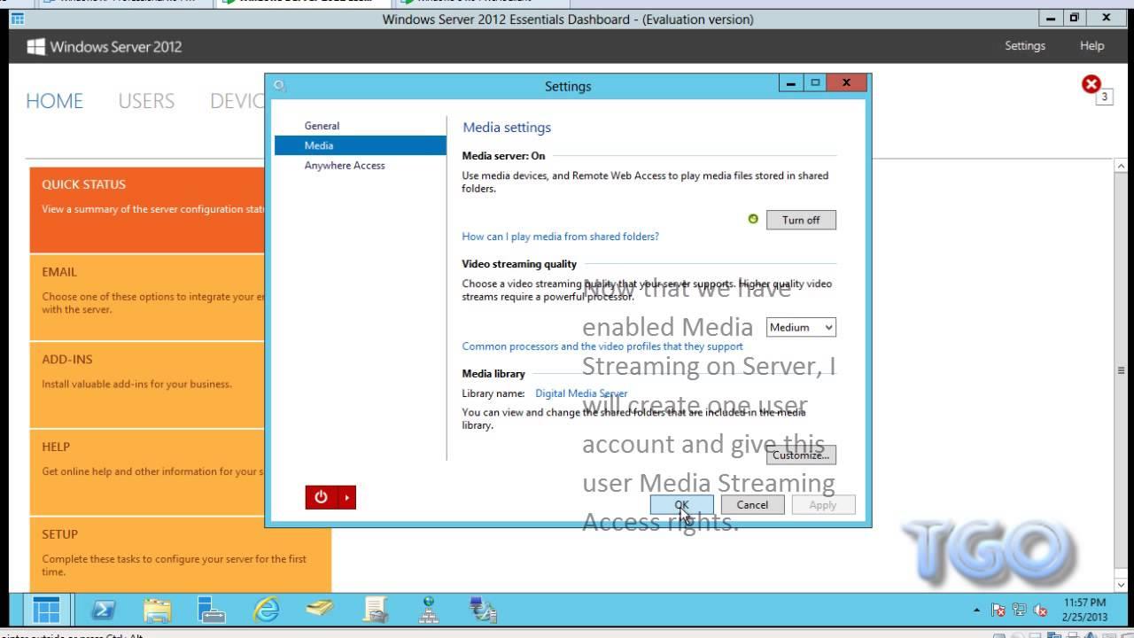 Install Anywhere Access (Media Server) on Windows Server 2012 Essentials