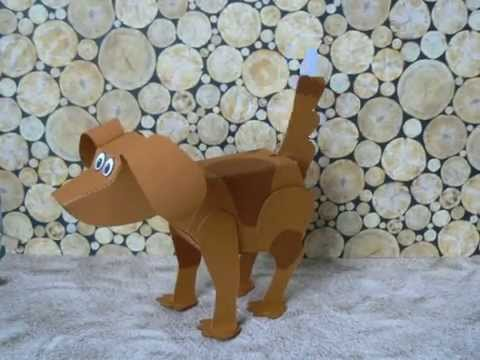 Papercraft Poseable Dog, Paper model
