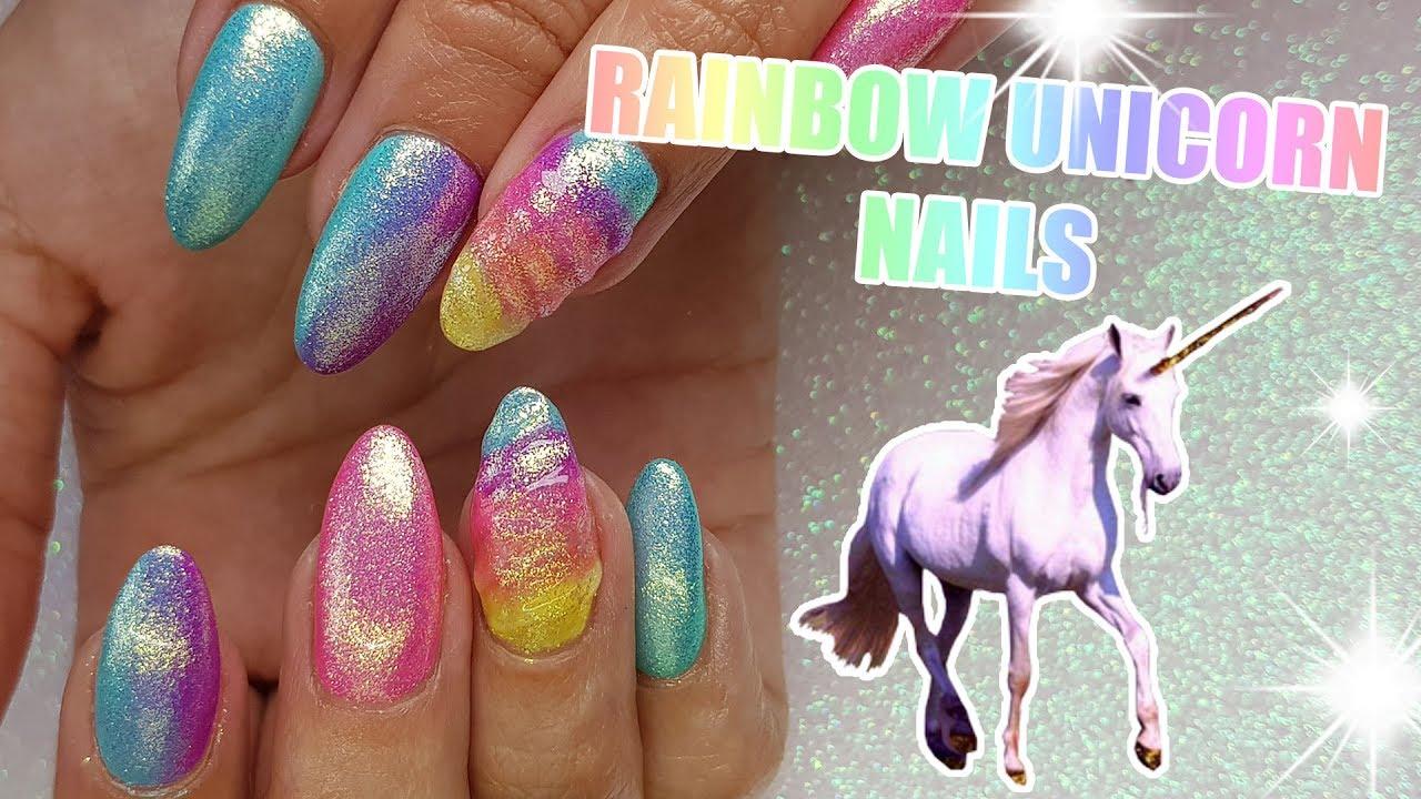 Rainbow Unicorn Acrylic Nails Gel Polish Magical Youtube