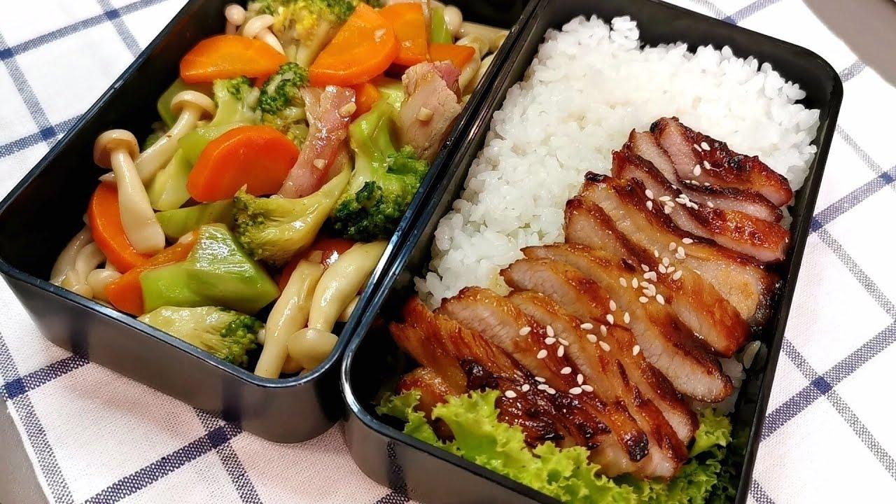 Khun Bento 🍱 ไอเดียข้าวกล่อง คอหมูย่างกับผัดผักสูตรกลมกล่อม 🥩🥦🥕