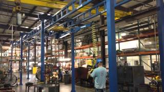Under Hung Easy Arm with Motorized Trolley on Gorbel Workstation Crane