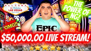 NON STOP HUGE JACKPOTS!  🔴$50,000 High Limit Live Stream - CRAZY HIGH LIMIT ACTION !