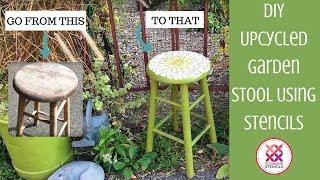 How To Stencil a Flower Stencil On Garden Stool in Under an Hour