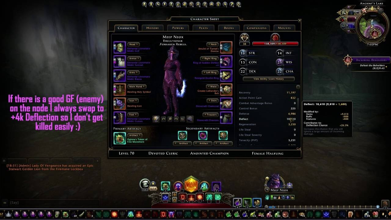 Neverwinter ps4 lvl 70 devoted cleric stack healer build, lords of.