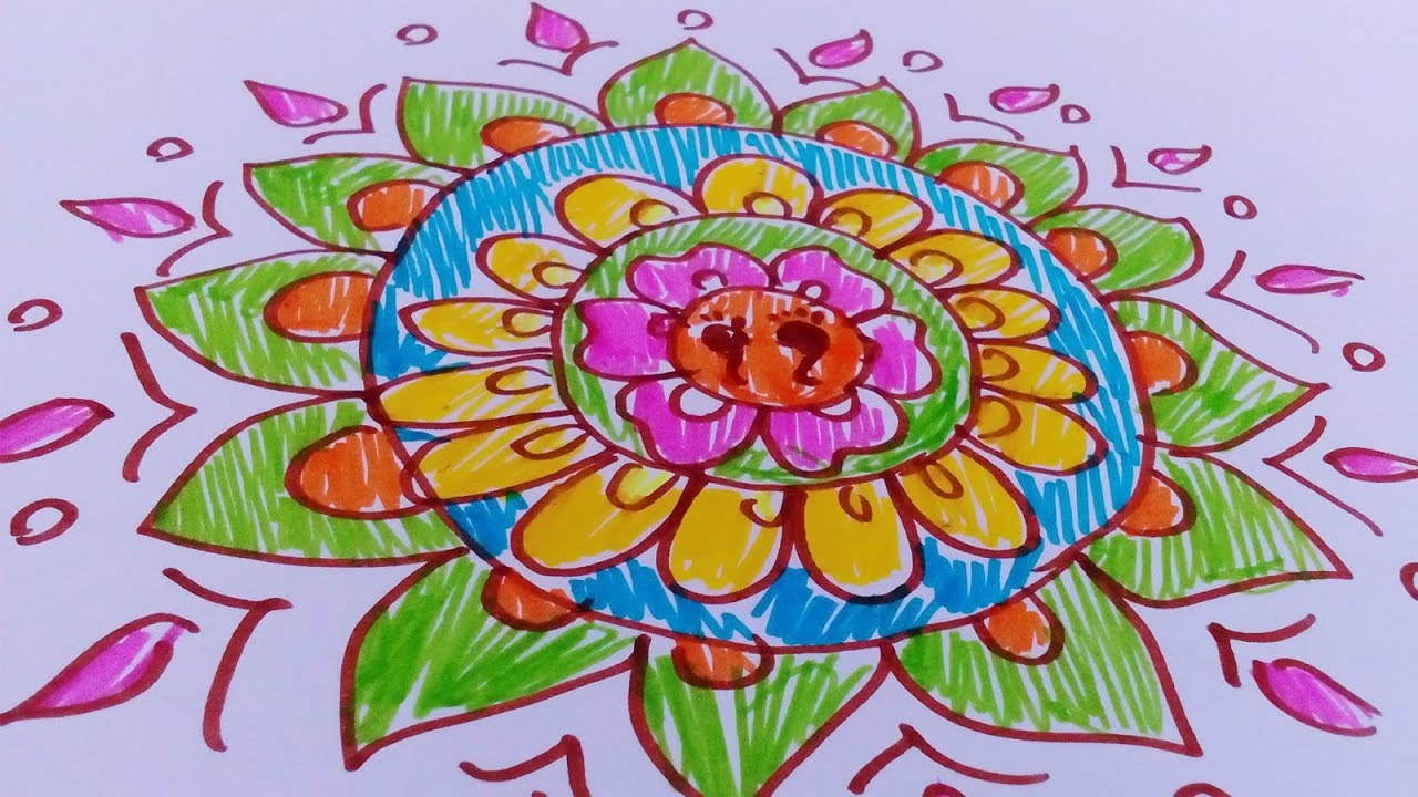 How to draw colorful rangoli designs with sketch pens easy rangoli design