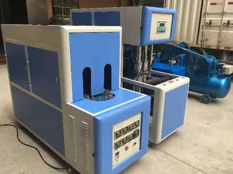 Detailed operating instructions for semi automatic 2 cavity PET bottle strecth blowing machine blowe