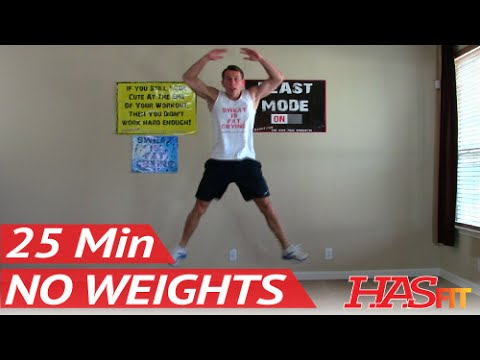 25 Min Workout Without Weights - HASfit Exercises to Lose Belly Fat Workouts without Equipment No
