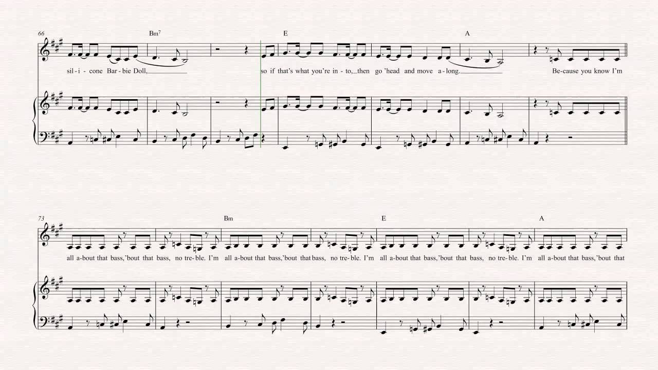 Violin - All About That Bass - Meghan Trainor Sheet Music, Chords, u0026 Vocals - YouTube