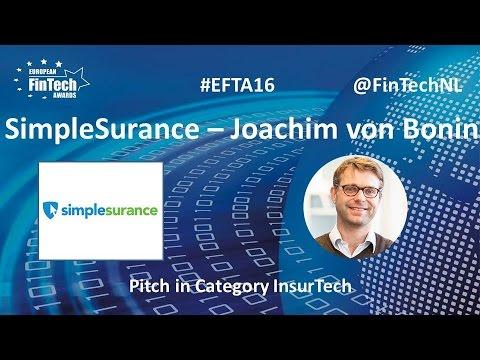 Simplesurance Pitch by Joachim von Bonin in InsurTech category at European FinTech Awards 2016