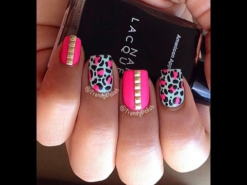 How To Studded Leopard Print Nail Art Tutorial Youtube