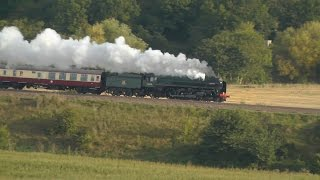 70000 Britannia storms through Newton St Loe with The Final Torbay Express of 2015