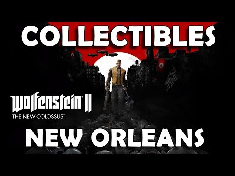 Wolfenstein 2 The New Colossus - New Orleans Collectible Locations (Gold, Art, Cards, Records, Toys)