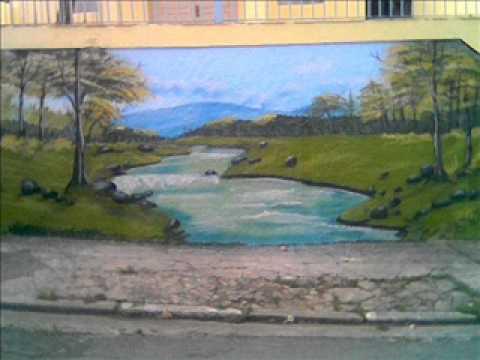 Pintura artistica de paisagem na parede youtube - Pinturas de paredes ...