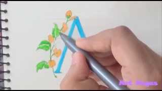 """How To Draw Fancy Letter Font """"A"""""""