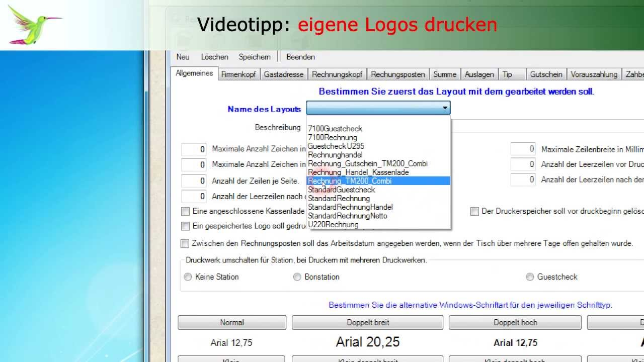 Kassensoftware PosBill - eigene Drucklayouts erstellen (1080p) - YouTube