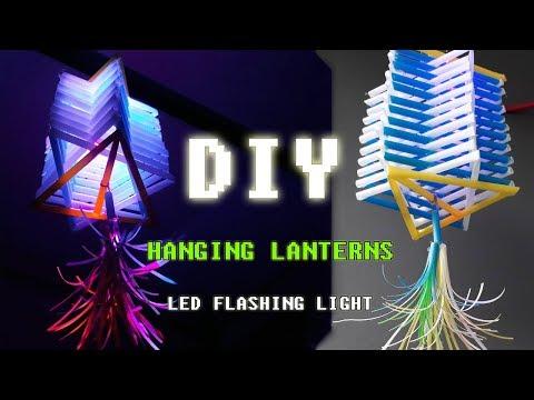 DIY Hanging Lanterns with straws idea - How To Make Lights Hanging Decoration #DIY Art Straws