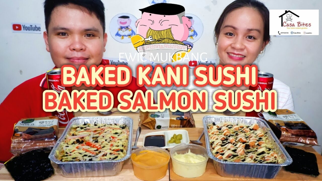 Baked Kani Sushi At Baked Salmon Sushi Mukbang / Filipino Food Mukbang / Pinoy Mukbang Philippines