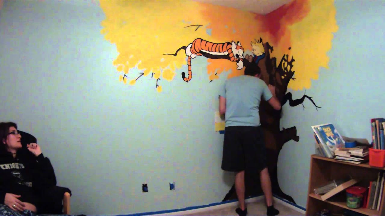 Calvin hobbes nursery mural painting timelapse youtube for Calvin and hobbes nursery mural
