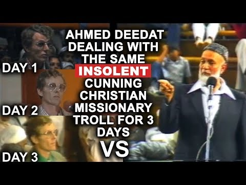 Sheikh Ahmed Deedat dealing with the same INSOLENT Cunning Christian Missionary Troll for 3 days