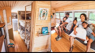 Family Of 5 Sold Everything & Built A DIY School Bus Conversion - Off Grid Solar Powered Bus