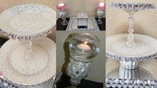 Dollar Tree DIY Glam 2 Tier Tray & Elegant Candle Holders |DIY Elegant Mother's Day Gift Ideas 2019