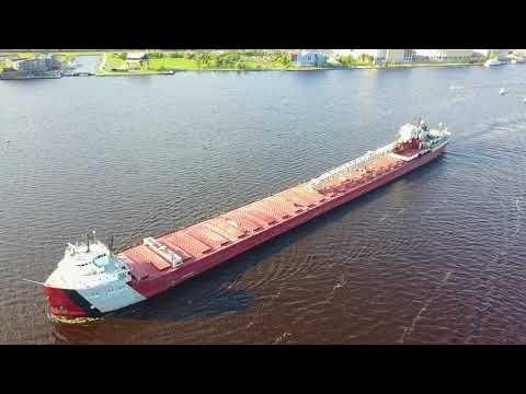 4k Drone Video. Duluth Minnesota. Flight around a long ship.