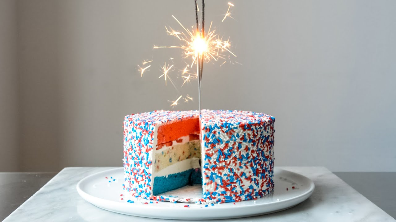 Red White And Blue Fourth Of July Confetti Cake Youtube