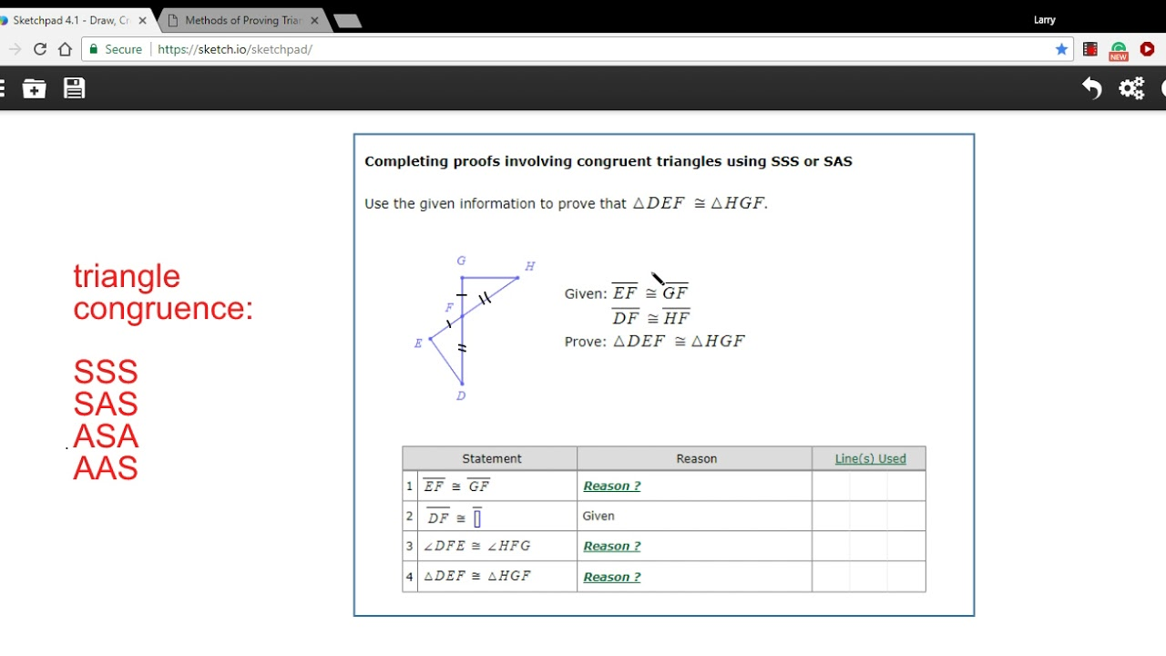 Completing Proofs Involving Congruent Triangles Using Sss Or Sas Youtube