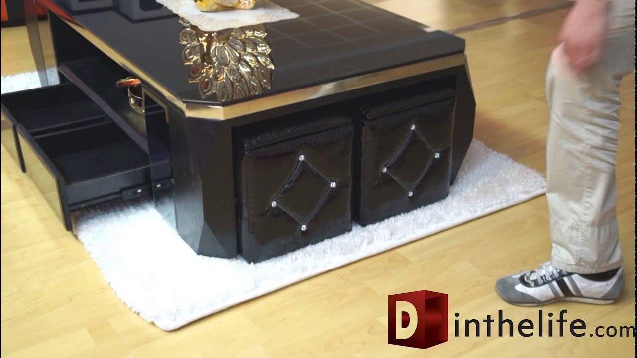 tavolino salotto con 4 pouf contenitore e 4 cassetti - YouTube