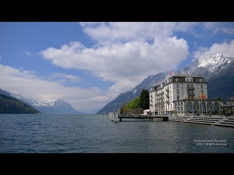 4K Brunnen Vierwaldststättersee Schwyz SWITZERLAND アルプス山脈
